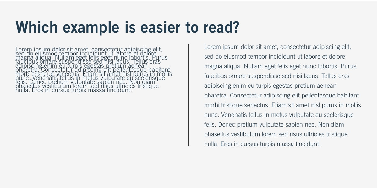 Example of how white space affects readability